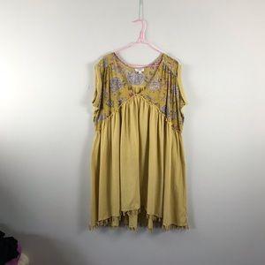 Umgee   mustard floral mini dress